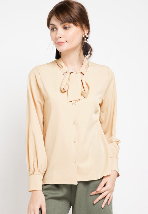 Mineola Tie Neck Long Sleeves Blouse Cream