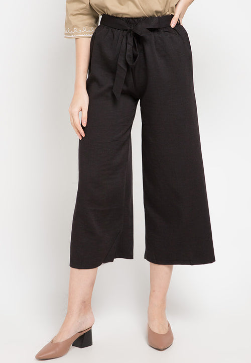 Mineola Tie Belt Cotton Culotte Pants Black