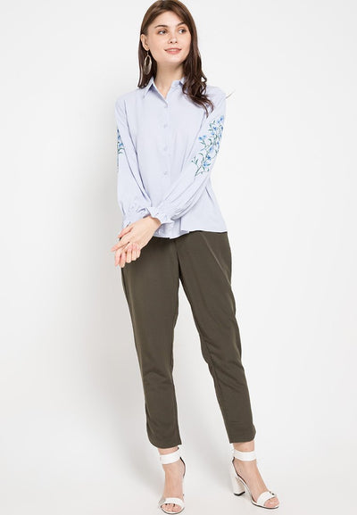 Mineola Embroidered Long Sleeves Shirt Blue