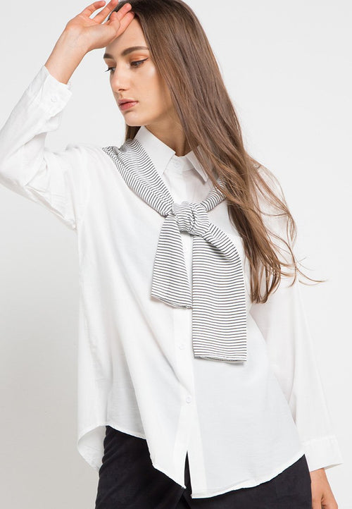 MINEOLA Button Down Shirt With Stripe White (11903116FW)