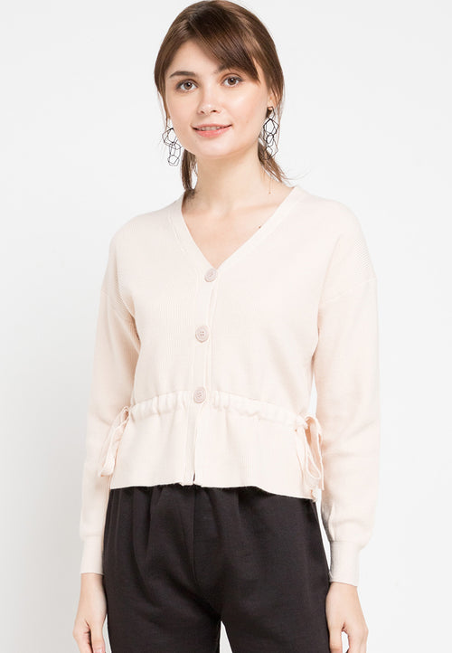 Mineola Waist Tie Knitted Cardigan Top Cream
