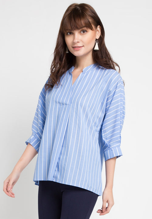 Mineola Stripe Cotton Top Blue