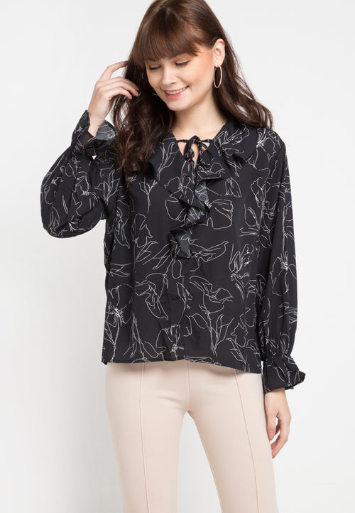 Mineola Ruffled Front Printed Blouse Black