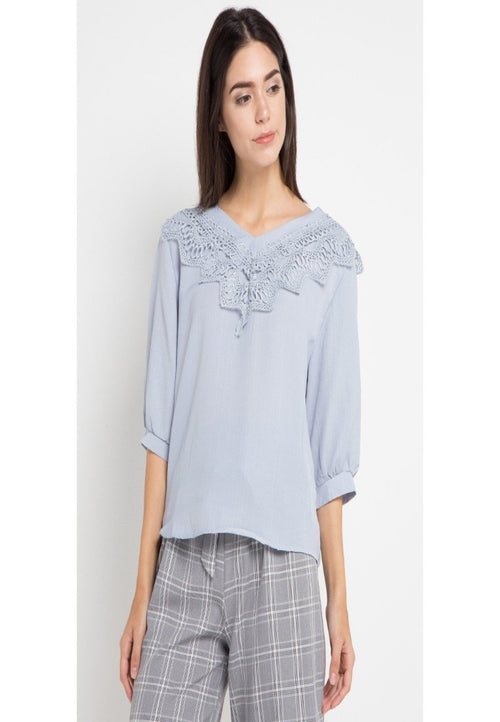 Mineola V-Neck Lace Front Blouse Blue (11805123FG)