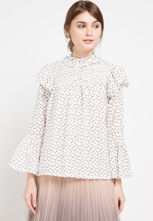 Mineola Smocked Printed Long Sleeves Blouse White