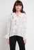 Mineola Ruffled Front Printed Blouse White