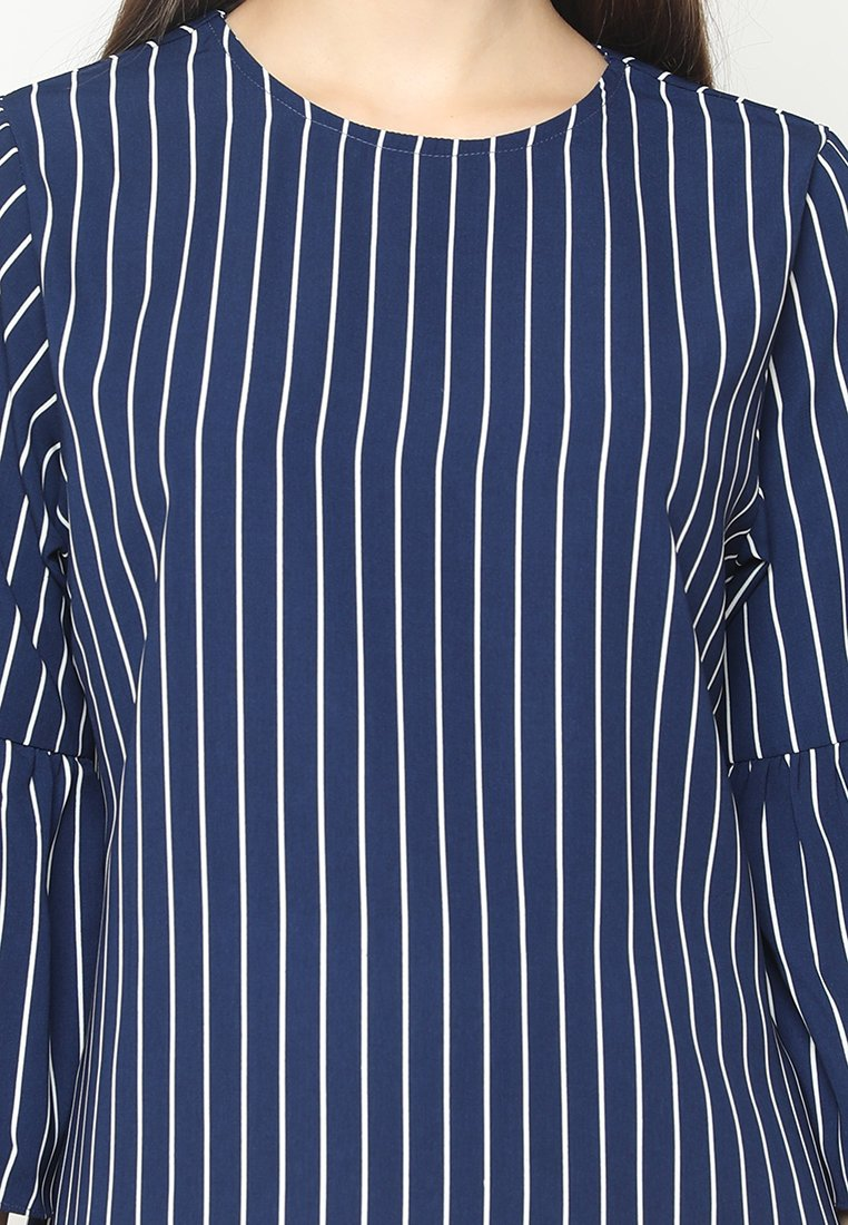 Mineola Flare Sleeve Stripe Blouse Navy