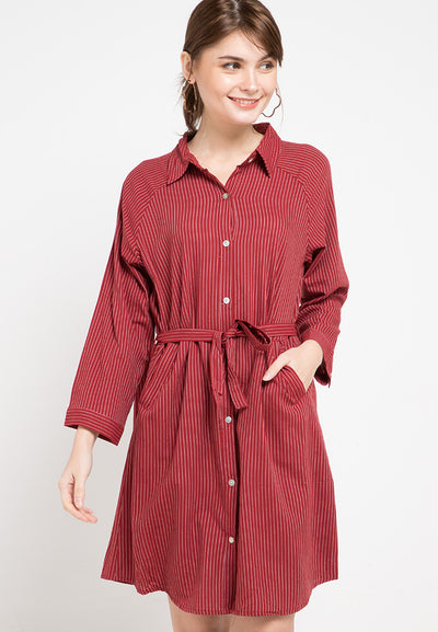 Mineola Striped Shirt Denim Dress Maroon