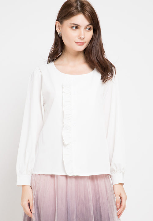 Mineola Ruffle Long Sleeves Blouse Top White