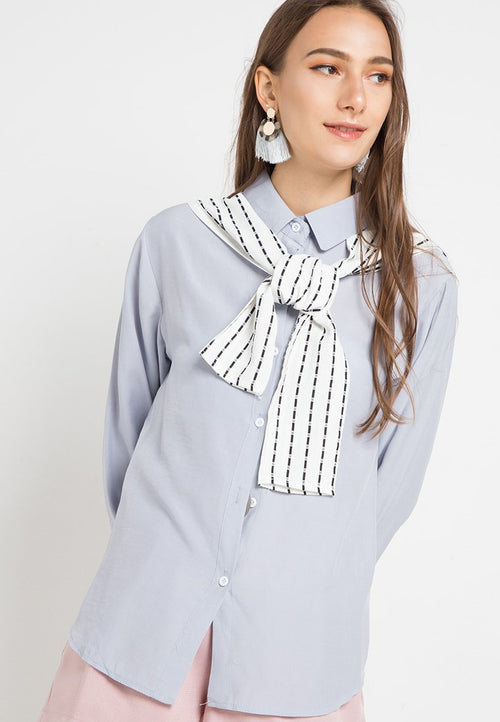 MINEOLA Button Down Shirt With Stripe Grey (11903131FG)