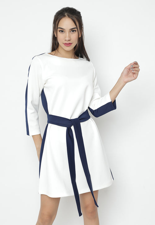 Mineola White-Navy Combination Dress