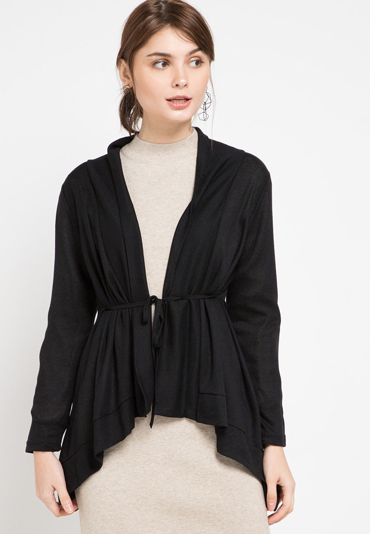 Mineola Knitted Long Cardigan Top Black