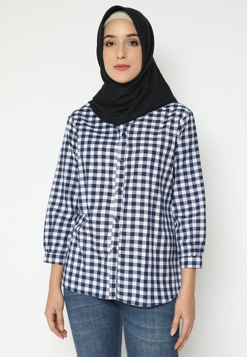 Mineola Hijab Plaid V-Neck Muslim Blouse Navy