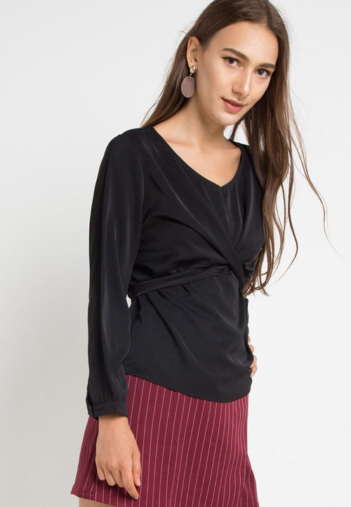 MINEOLA V Neck Waist Tie Blouse Black (11903105FB)