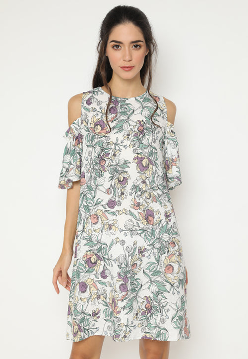 Mineola MNL Open Shoulder Floral Dress