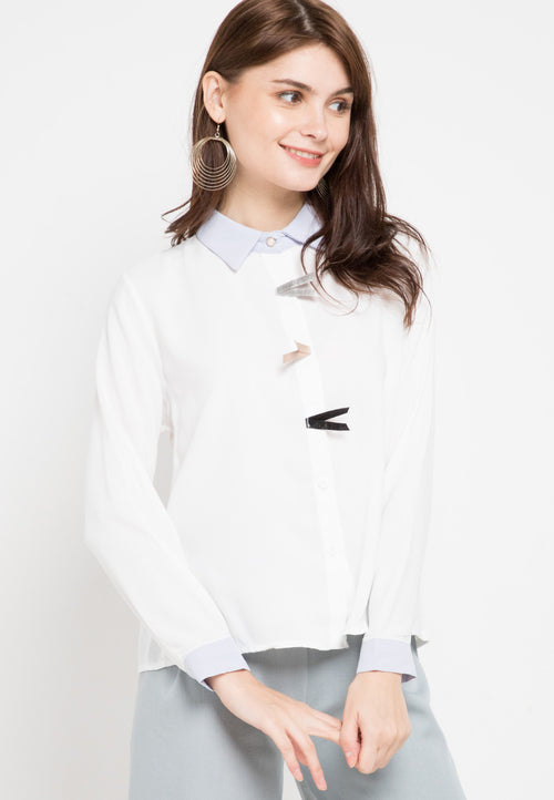 Mineola Plain Collar Shirt Blouse White