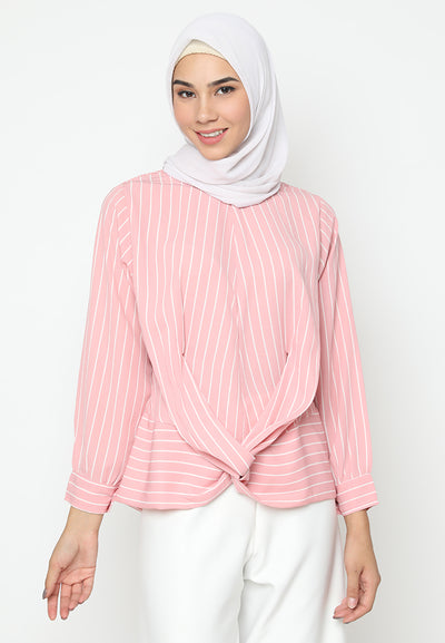 Mineola Cross Belt Blouse Stripe
