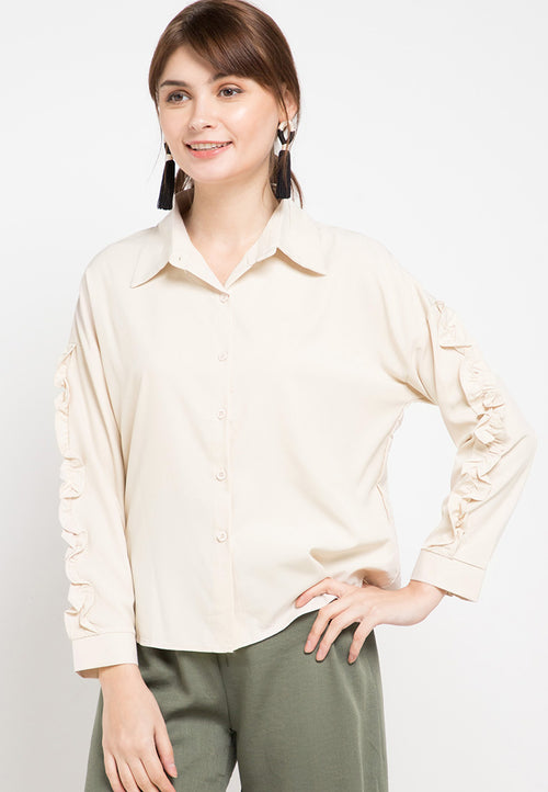 Mineola Ruffle Long Sleeves Shirt Top Cream