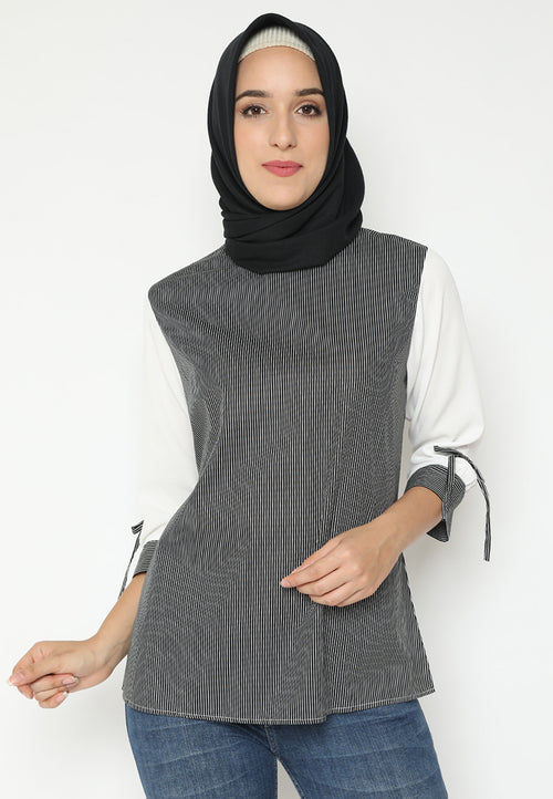 MINEOLA Hijab Collar Neck Stripe Black