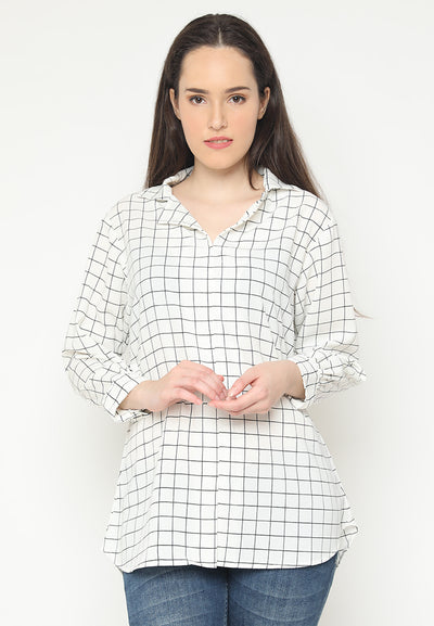 Mineola white Long Sleeves Checkered Blouse