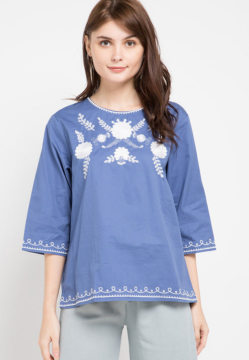 Mineola Embroidered Cotton Top Dark Blue