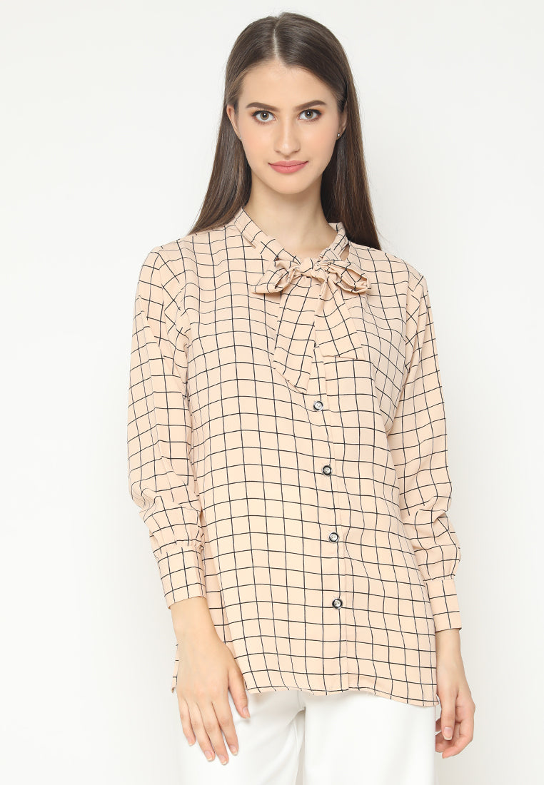 Mineola Tie Neck Long Sleeves Checkered Blouse cream