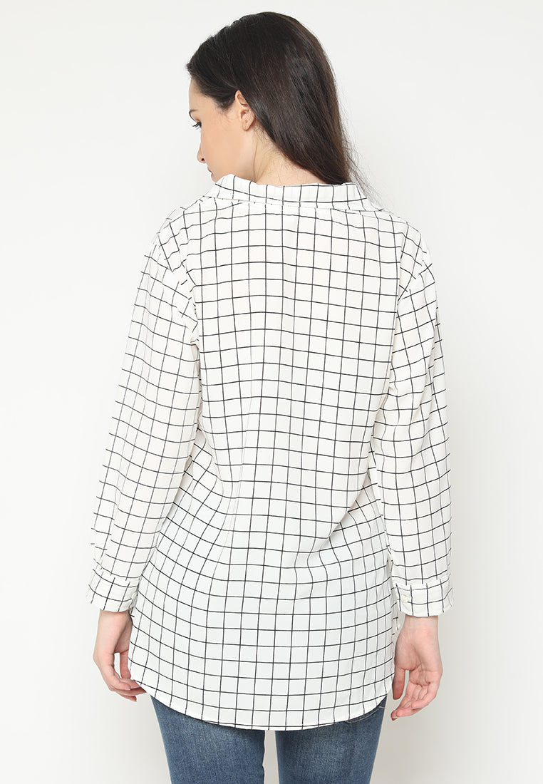 Mineola Long Sleeves Checkered Blouse white