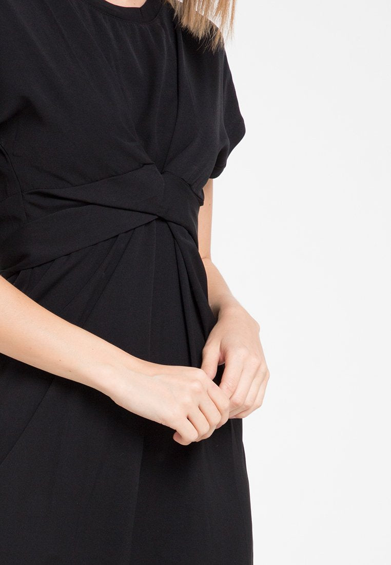 Mineola Tie Front Loose Dress Black