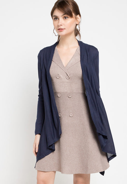 Mineola Knitted Long Cardigan Top Navy