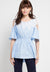 Mineola Lace Off Shoulder Cotton Top Blue