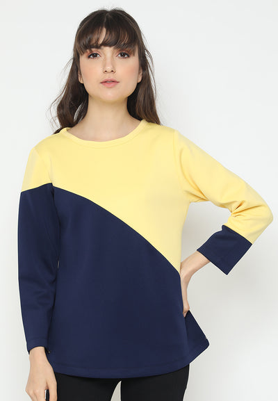 Mineola Two Tone Round Neck Blouse