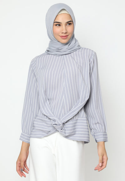 Mineola Cross Belt Blouse Stripe Grey
