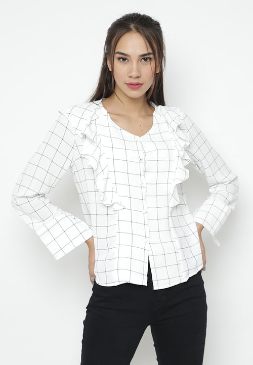 Long Sleeves Checkered Rufflle Blouse