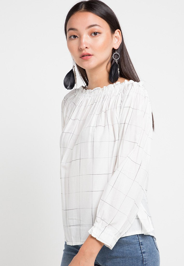 Mineola Loose Off Shoulder Blouse White
