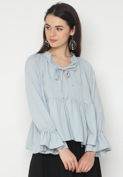 Neck Tie Long Sleeves Blouse