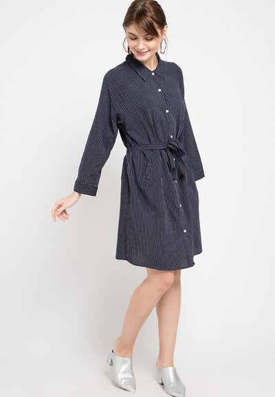 Mineola Striped Shirt Denim Dress Navy