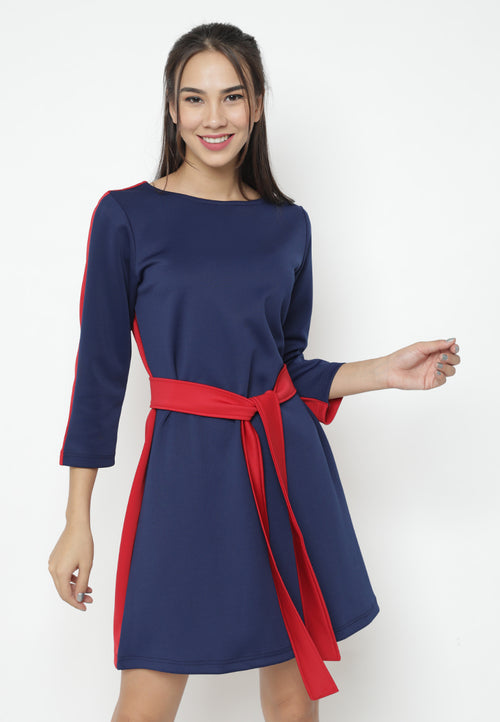 Mineola Navy-Red Combination Dress