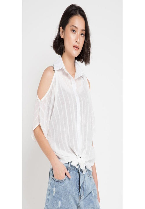 Mineola Drop Shoulder Front Tie Blouse White (11805134FW)