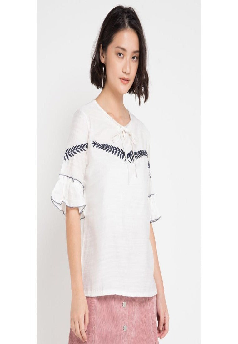 Mineola Leaves Embroidery Blouse White - 11805127FW