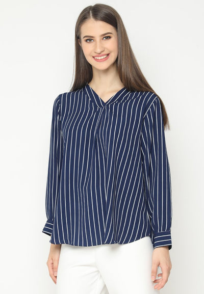 Mineola V-Neck Stripe Shirt Navy