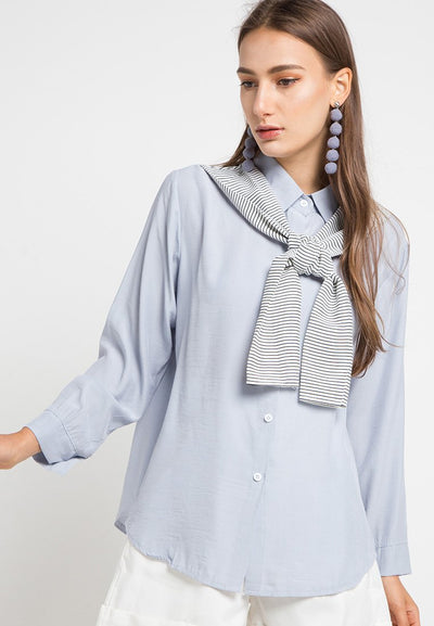MINEOLA Button Down Shirt With Stripe Blue (11903116FB)
