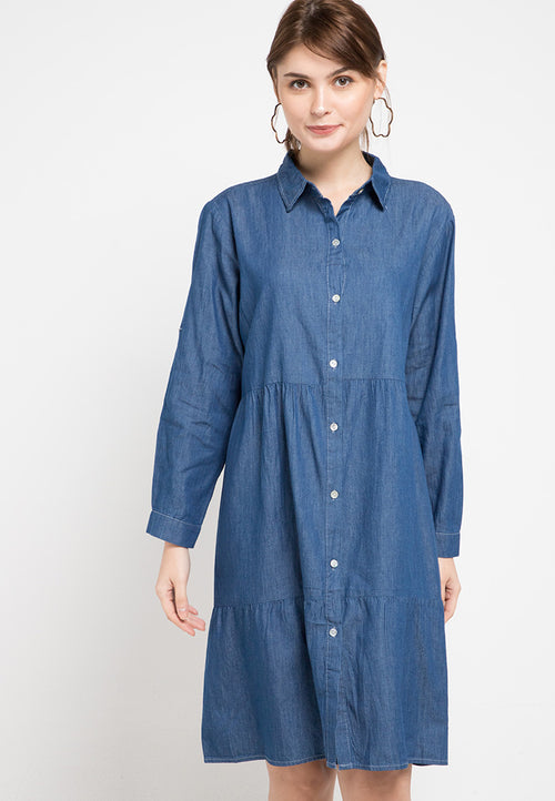 Mineola Denim Dress Dark Blue