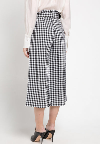 Mineola Checkered Belt Pants Black