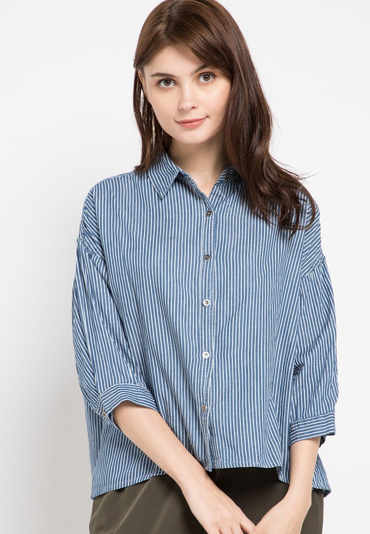 Mineola Striped Shirt Denim Top Dark Blue