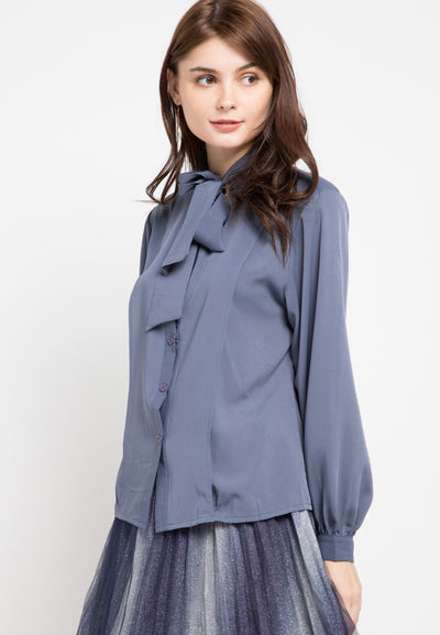Mineola Tie Neck Long Sleeves Blouse Navy
