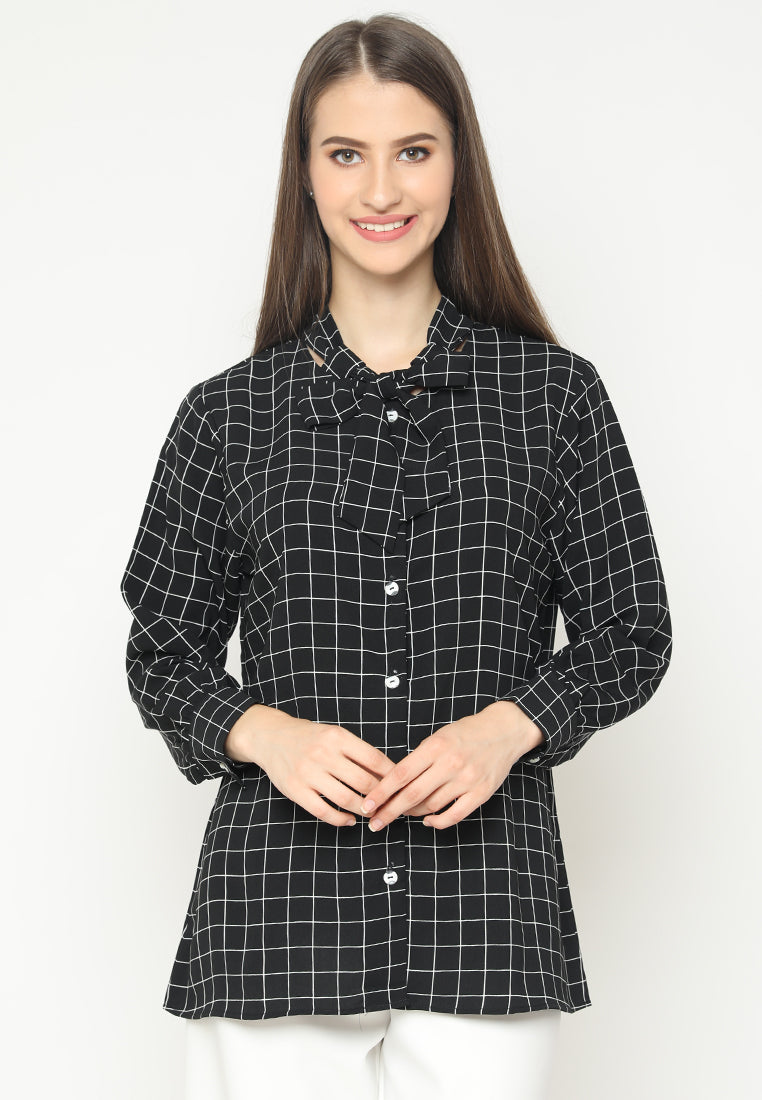 Mineola Tie Neck Long Sleeves Checkered Blouse