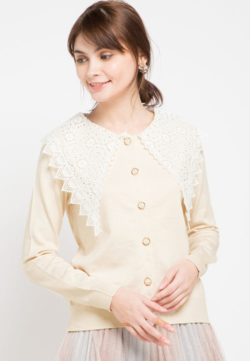 Mineola Peter Pan Collar Cardigan Top Cream
