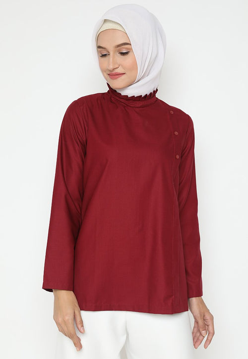 Mineola Hijab Cotton Muslim Top - Maroon
