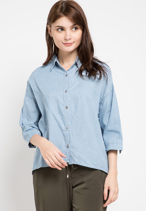 Mineola Striped Shirt Denim Top Light Blue