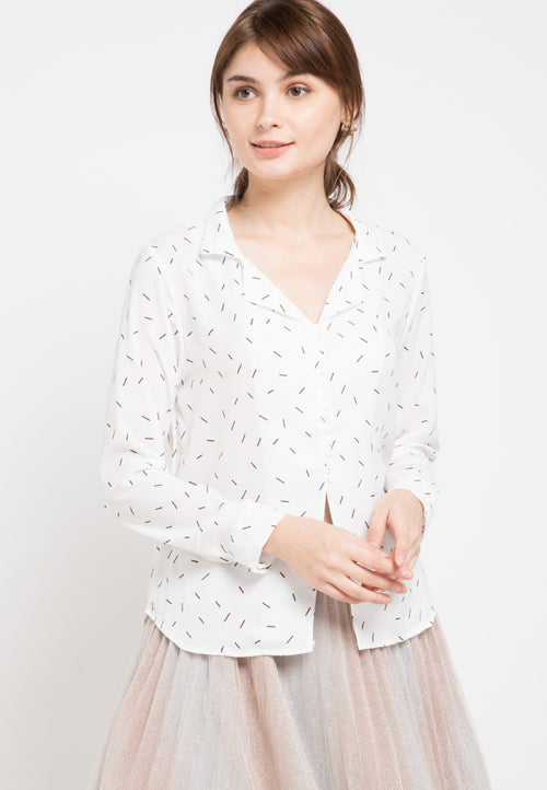 Mineola Printed Long Sleeves Shirt Top White